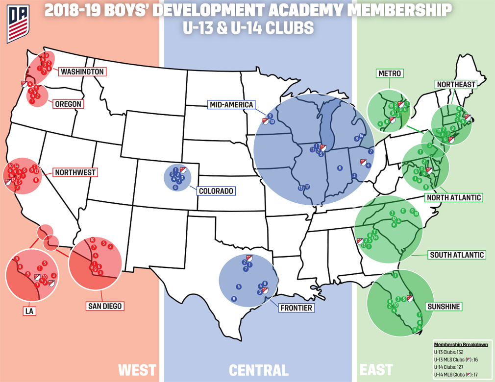 Us Soccer Development Academy - Map-of-sports-teams-in-us