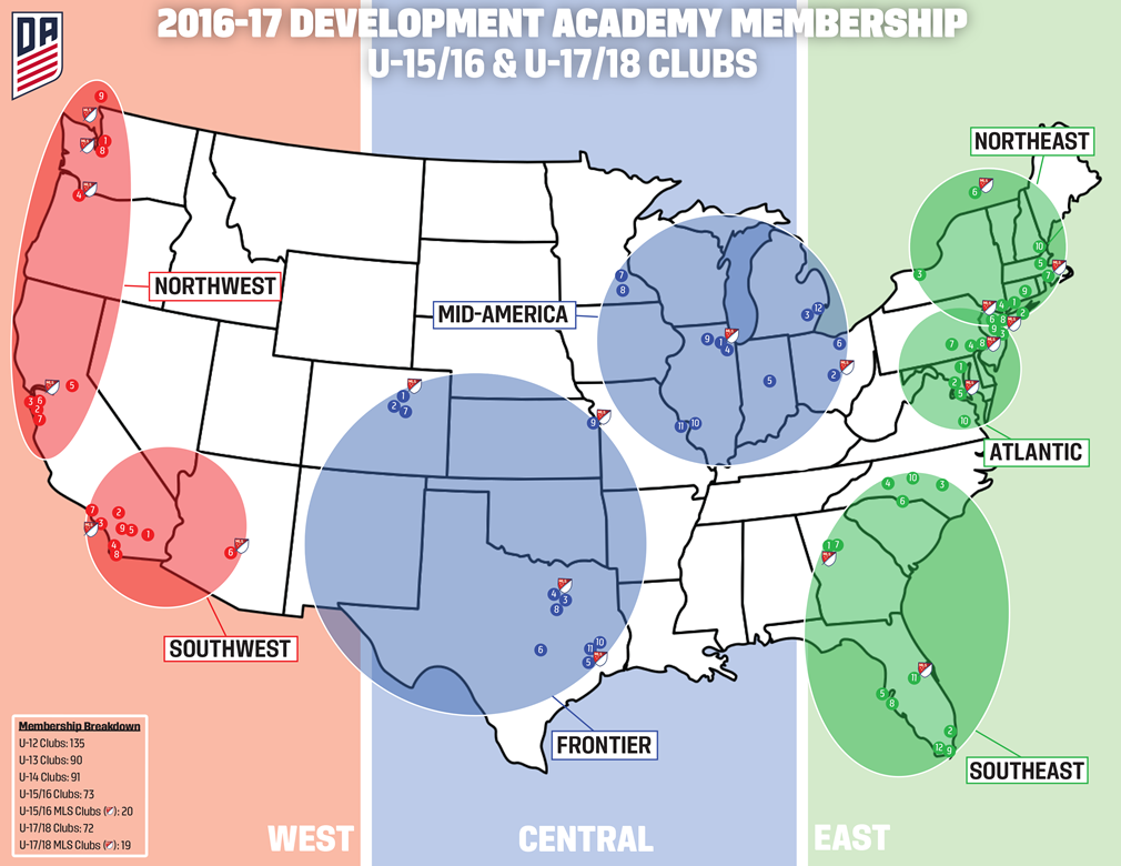 US Soccer Development Academy - Us 17 map