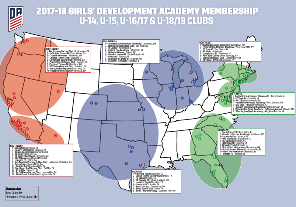 US Soccer Development Academy - Us youth soccer map